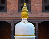 White and golden chorten in Bhaktapur, Nepal