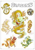 Vector Traditional Asian Dragons
