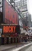 The exterior of the Winter Garden theater, featuring the play Rocky The Musical on Broadway in NY