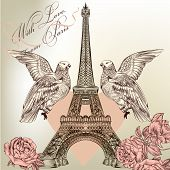 Beautiful Valentine Card With Detailed Vector Eiffel Tower, Rose And Couple Of Doves