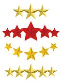 image of first class  - Vector Five golden stars isolated on white - JPG