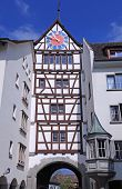 stock photo of stein  - Medieval clock tower in Stein am Rhein - JPG