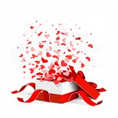 Open gift box with flying hearts isolated on white