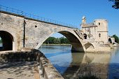 picture of avignon  - The Saint Benezet bridge on Rhone river in Avignon Provence France - JPG