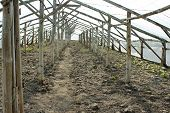 Empty Wooden Greenhouse Before Planting Seedlings