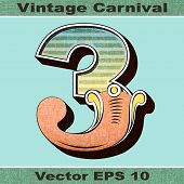 The Number 3, Three of an Alphabet Sit of Vintage, Carnival, Circus, Funfair, Fishtail Letters and N