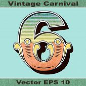 The Number 6, Six of an Alphabet Sit of Vintage, Carnival, Circus, Funfair, Fishtail Letters and Num
