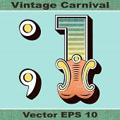 The Number 1, One, Full Stop, Period, Comma of an Alphabet Sit of Vintage, Carnival, Circus, Funfair