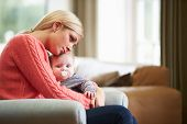stock photo of natal  - Mother Suffering From Post Natal Depression - JPG