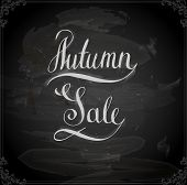 Autumn Sale Hand Lettering. Handmade calligraphy, vector. Chalk style, Chalkboard background.
