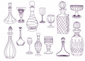 Antique Crystal Decanters and Glasses - Set of hand drawn crystal decanters and glasses, line art, b
