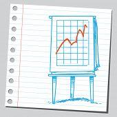 Business graph on flipchart