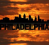 Philadelphia skyline reflected with text and sunset illustration
