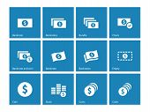 Dollar Banknote blue icons on white background.