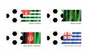 Soccer Ball With Abkhazia, Adygea, Afghanistan And Ajaria Flag