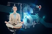 Peaceful chic businesswoman sitting in lotus position on swivel chair against dollar sign on futuris