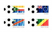 Soccer Ball With Comoros, Cook Islands And Congo Flag