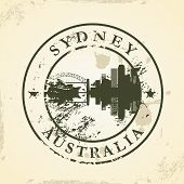Grunge rubber stamp with Sydney, Australia - vector illustration