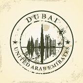 Grunge rubber stamp with Dubai, UAE - vector illustration