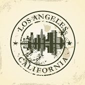 Grunge rubber stamp with Los Angeles, California - vector illustration