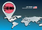 Map pin with Las Vegas skyline - vector illustration