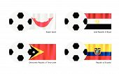 Football With Easter Island, Egypt, Timor Leste And Ecuador Flag