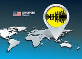 Map pin with Singapore skyline - vector illustration