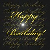 Gold Happy Birthday With Super Nova Light