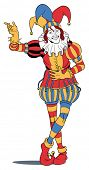 image of jestering  - Jester in colorful costume taking a bow - JPG