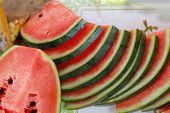 stock photo of watermelon slices  - Watermelon slices on a plate - JPG