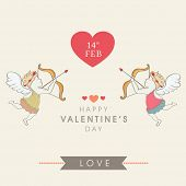 Happy Valentines Day celebration greeting card with cute cupid taking aim on a heart, can be use as flyer, poster or banner.