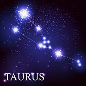 stock photo of taurus  - vector of the taurus zodiac sign of the beautiful bright stars on the background of cosmic sky - JPG