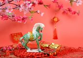 Ceramic horse souvenir,traditional chinese calligraphy art means success with horse, 2014 is year of