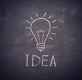 Idea Light Bulb Drawn With Chalk On  Blackboard