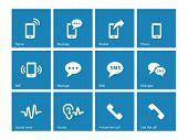 Phone icons on blue background.