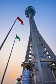 MACAU, CHINA - OCTOBER 12, 2012: Macau Tower exterior at dusk. At 233 meters, the tower offers the s