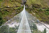 Rope Hanging Suspension Bridge - Everest Base Camp Trek In Nepal