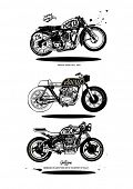 stock photo of motorcycle  - illustration sketch motorcycle with wording - JPG