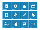 Social icons on blue background.