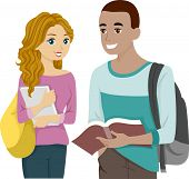 Illustration of a Male and Female Teens Sharing a Book