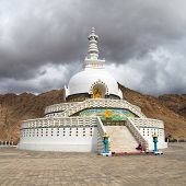 Tall Shanti Stupa Near Leh - Jammu And Kashmir - Ladakh - India
