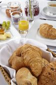 Breakfast Table - Croissant And Bread Roll
