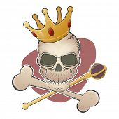 stock photo of scepter  - creepy skull with crown and scepter - JPG