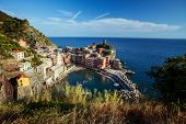 Vernazza town of Cinque Terre National Park at calm sunny day, Italy