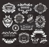 Vintage Styled Premium Quality and Satisfaction Guarantee Label on the chalkboard.