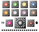 Buttons with checkerboard motif