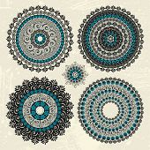Set of abstract vector circle decorative design elements in color