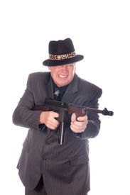 picture of sub-machine-gun  - Gangster with sub - JPG
