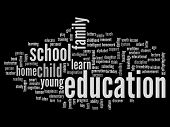 High resolution concept or conceptual education abstract word cloud on black background