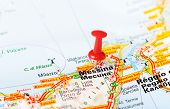 picture of messina  - Close up of Messina Italy map with red pin  - JPG